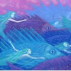 """""""Ocean nomads"""", fantasy art, mermaids and fish, pastel painting by clipsocallipso"""