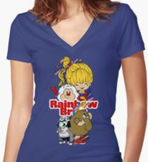 Rainbow Brite - Group Logo #1 - Color  Women's Fitted V-Neck T-Shirt