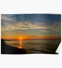 Long Island Sunset at Crab Meadow Beach Poster