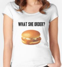 What She Order? Women's Fitted Scoop T-Shirt