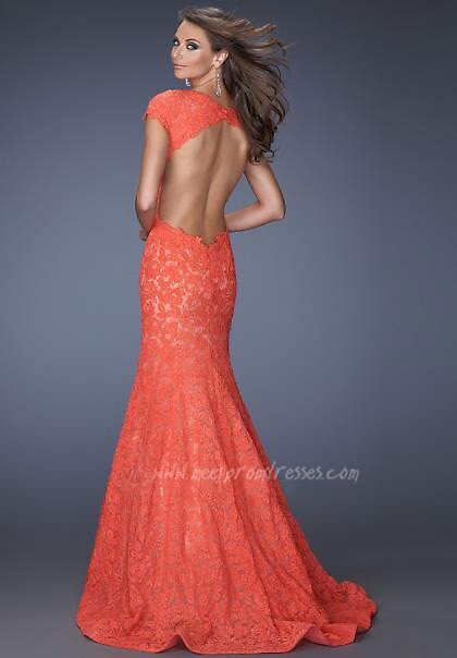 Hot Coral Prom Dress