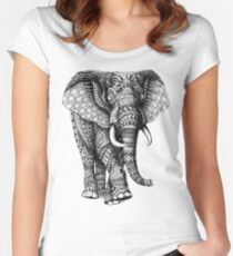 Ornate Elephant v.2 Women's Fitted Scoop T-Shirt