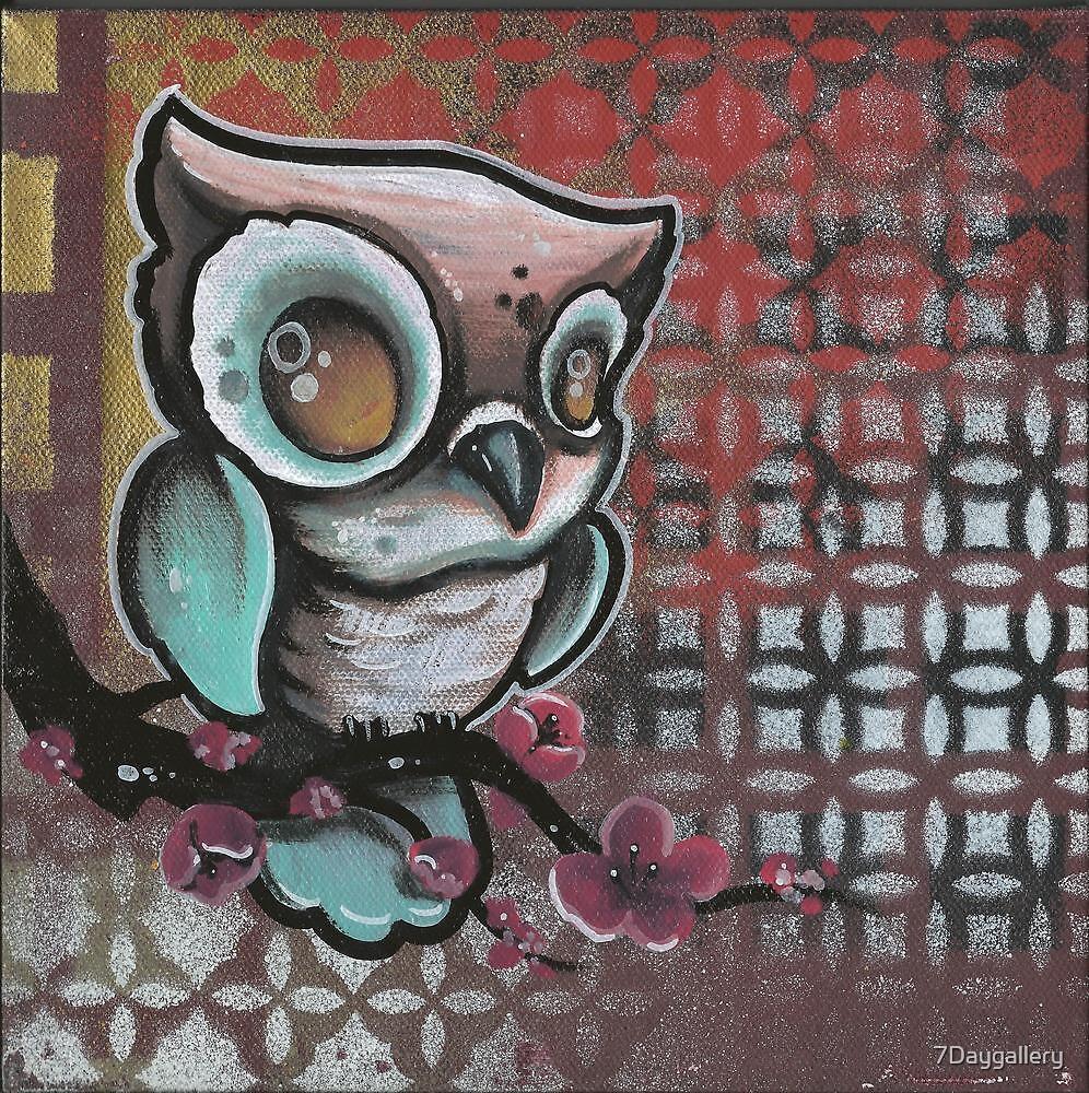 Graffiti art tattoo - Owl Cherry Blossom Original Tattoo Art By 7daygallery