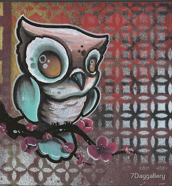 owl & cherry blossom original tattoo art by 7Daygallery