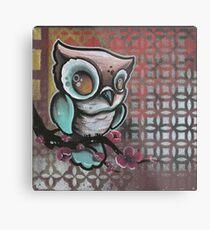 owl & cherry blossom original tattoo art Metal Print