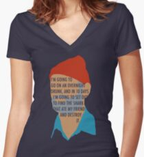 Team Zissou's Mission Objective Women's Fitted V-Neck T-Shirt