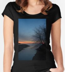 Waiting for Dawn - Lakeside Blues and Oranges Women's Fitted Scoop T-Shirt