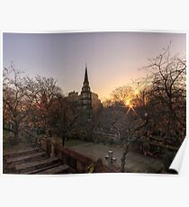 Sunrise, St Cuthbert's Church and Edinburgh Castle Poster