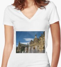 Sheffield Town Hall and Fountain Women's Fitted V-Neck T-Shirt