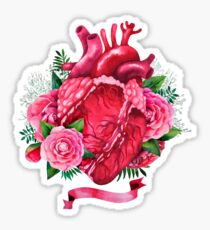 Watercolor heart with floral design Sticker