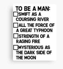 To Be A Man: Canvas Print