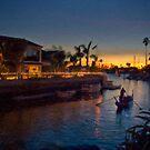Naples gondola at sunset von Celeste Mookherjee