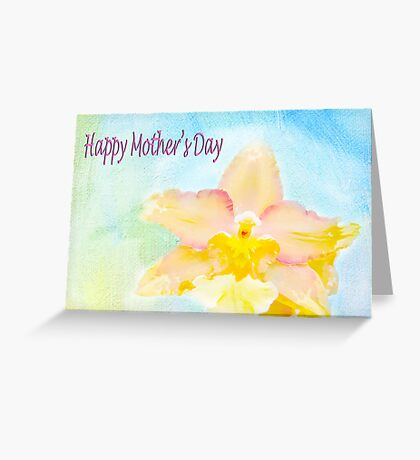 Happy Mother's Day Peach Cattleya Orchid Greeting Card