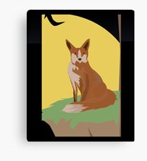 The Lonely Fox Sitting Viewing the Moon Canvas Print