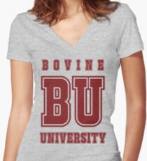 Bovine University - Simpsons Women's Fitted V-Neck T-Shirt