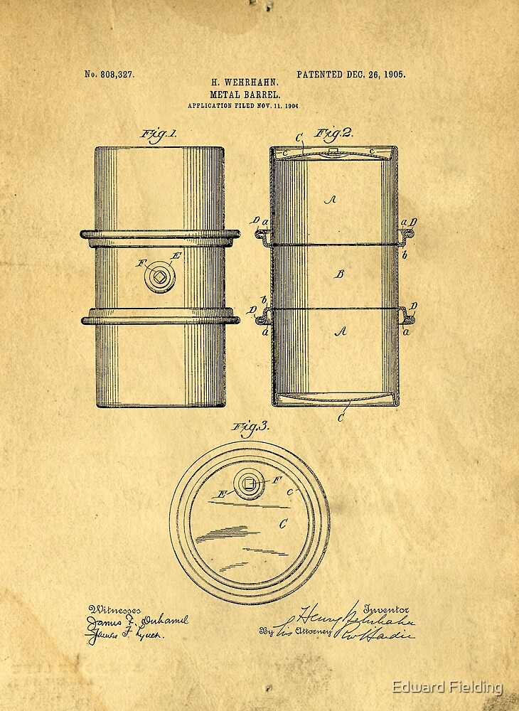 Original Patent for the first metal oil drum by Edward Fielding