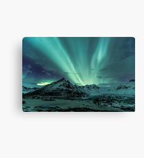 Aurora Borealis over glacier Canvas Print