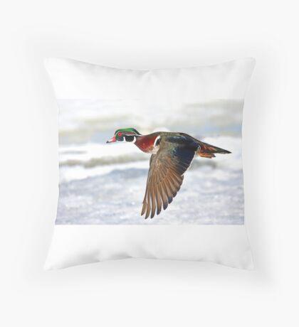 Colourful flight - Wood Duck Throw Pillow