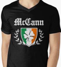 McCann Family Shamrock Crest (vintage distressed) Men's V-Neck T-Shirt