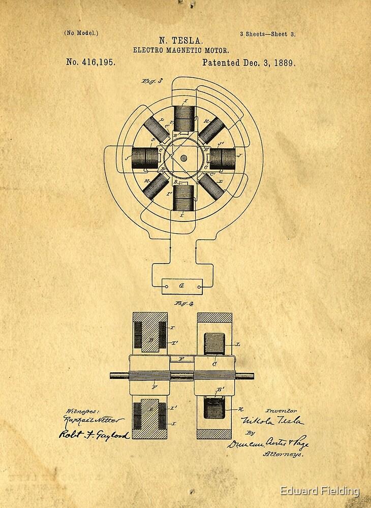 Nikola Tesla Electro Magnetic Motor Patent by Edward Fielding