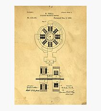 Nikola Tesla Electro Magnetic Motor Patent Photographic Print