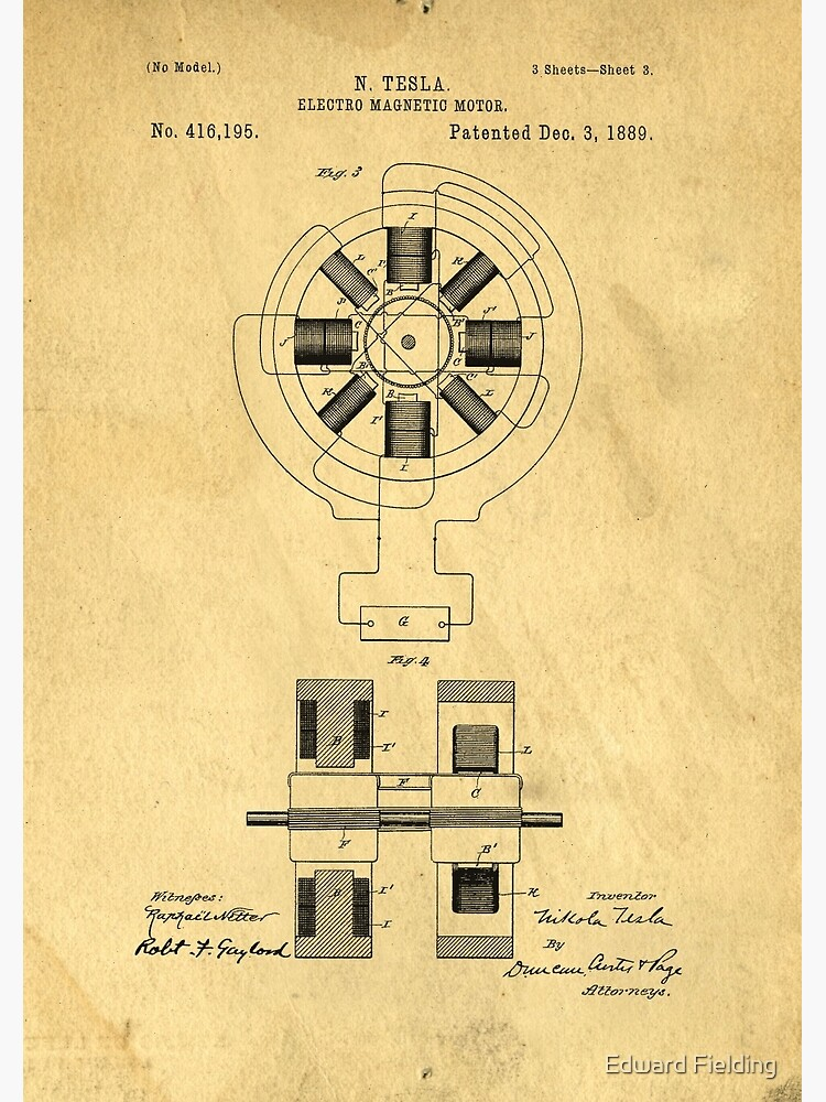 Nikola Tesla Electro Magnetic Motor Patent | Spiral Notebook on