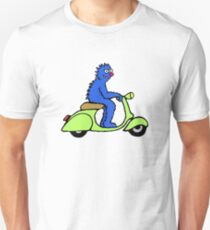 Blue monster on a green scooter Unisex T-Shirt