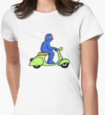 Blue monster on a green scooter Womens Fitted T-Shirt