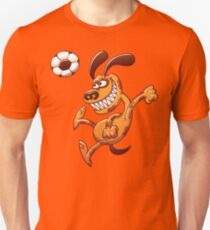Brave dog heading a soccer ball Slim Fit T-Shirt