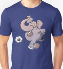 Cool elephant executing a stunt with a soccer ball  Slim Fit T-Shirt