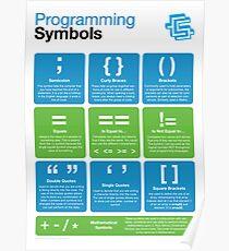 Póster Símbolos de programación (alfabetización de codificación)