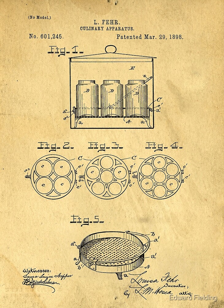 Home Canning Jar Patent 1898 by Edward Fielding