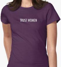 TRUST WOMEN - Light text on dark Womens Fitted T-Shirt