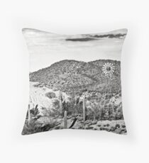 Sonoran Desert and the Windmill Throw Pillow