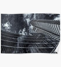 Architectural view with clouds Poster