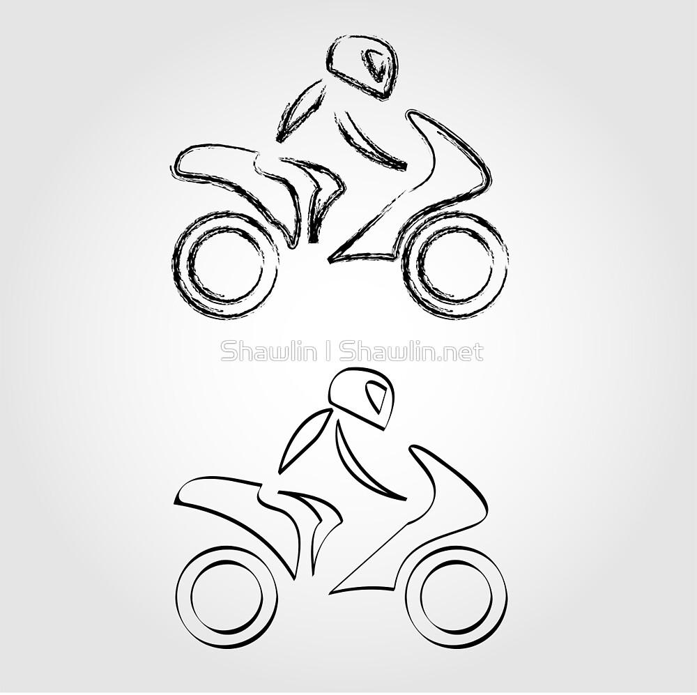 A biker on a motorbike with sketch effect  by Shawlin Mohd