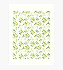 Watercolor leaves pattern Kunstdruck