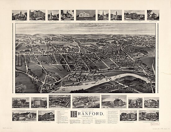 Bird's-eye view Map of Branford Connecticut (1905) by allhistory