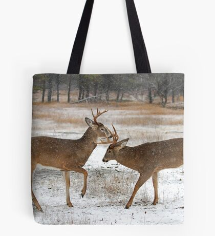 Battle of the Big Bucks - White-tailed deer Tote Bag