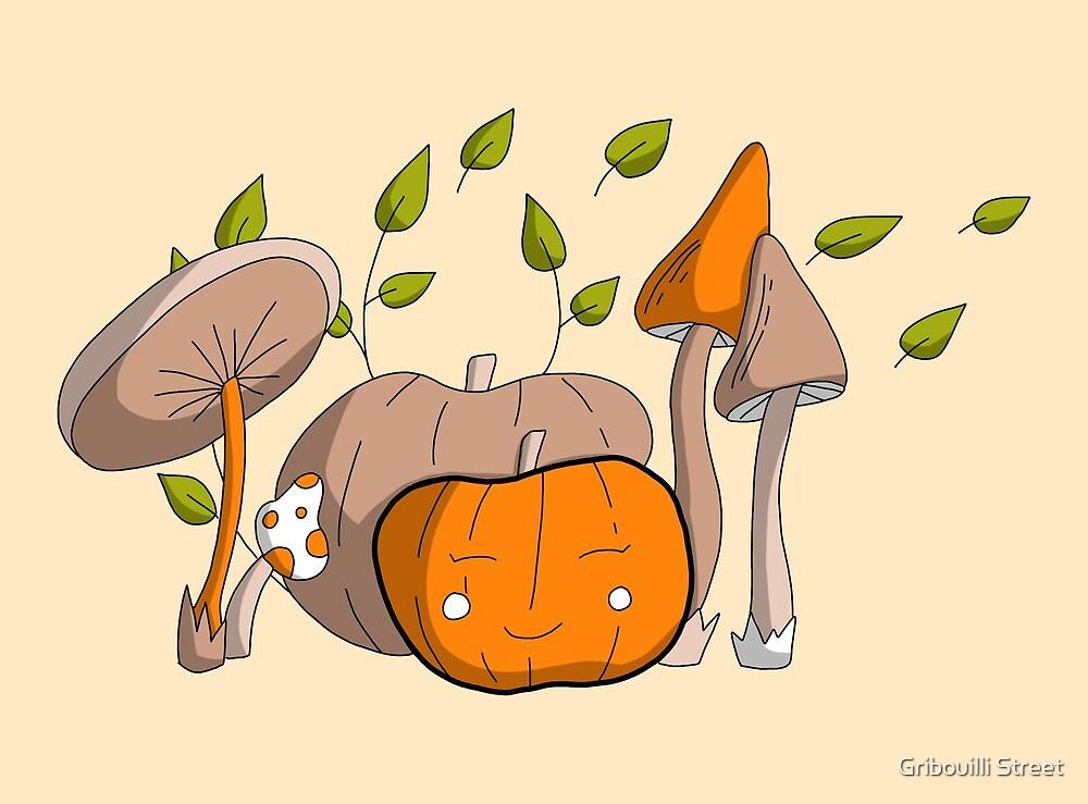 Pumpkin and mushroom by Gribouilli Street