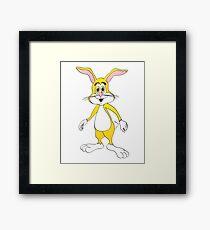 Yellow Cartoon Bunny Rabbit Framed Print
