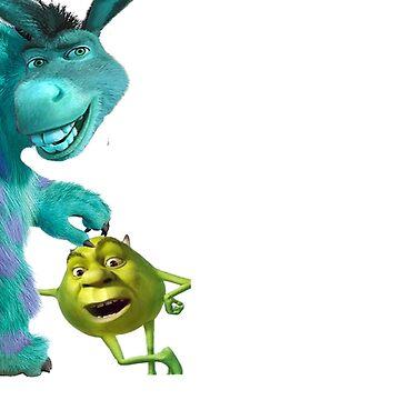 Shrek/Donkey & Sully/Mike Crossover by SchnitzelMan69