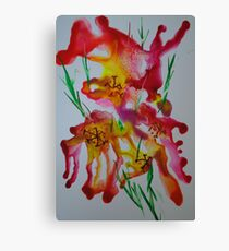 Abstract encaustic flowers Canvas Print