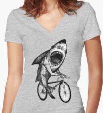 Shark Ride Bicycle  Women's Fitted V-Neck T-Shirt