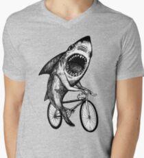 Shark Ride Fahrrad T-Shirt mit V-Ausschnitt für Männer