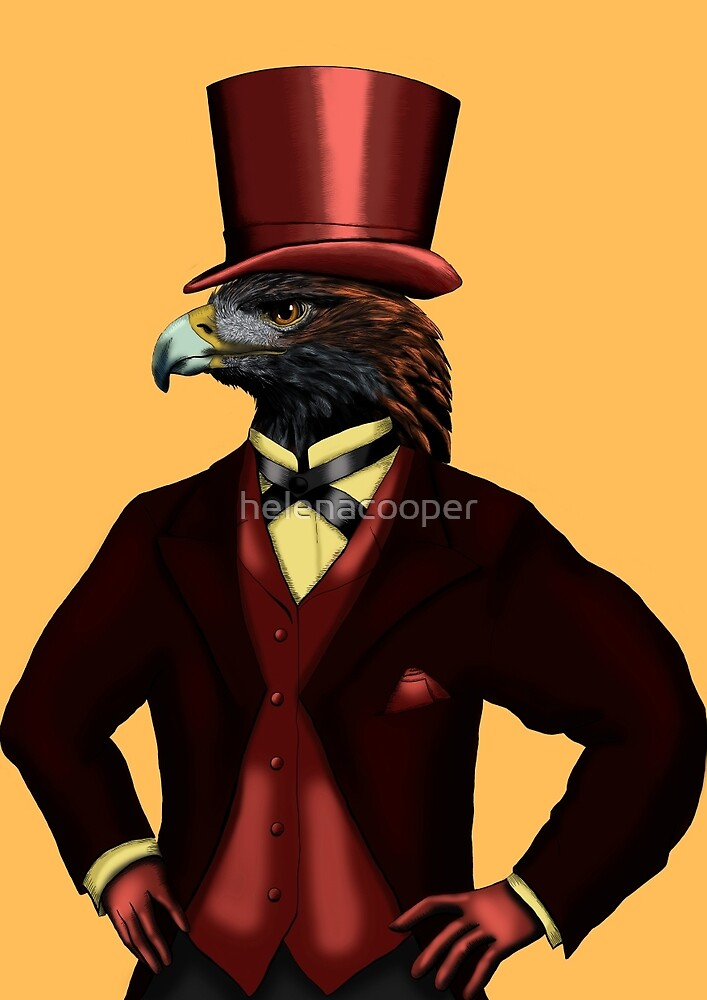 Eagle in top hat on yellow by helenacooper