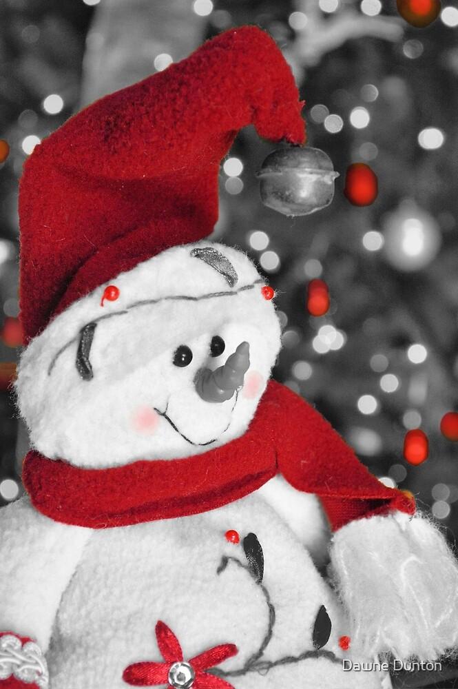 Frosty Christmas Red B&W by Dawne Dunton
