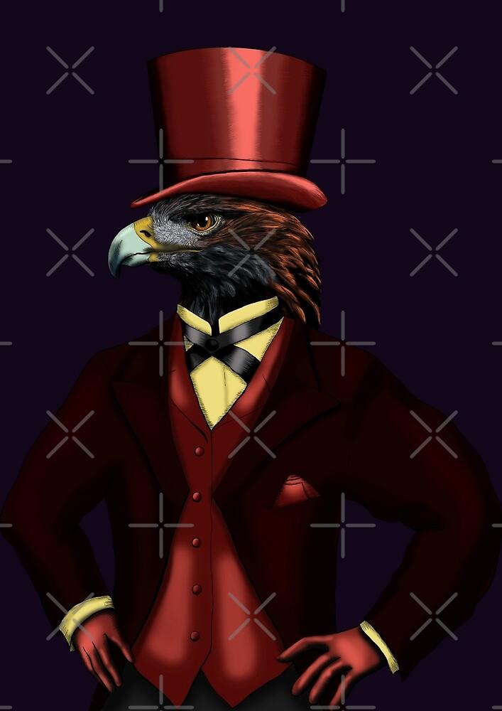 Eagle in top hat on dark violet by helenacooper