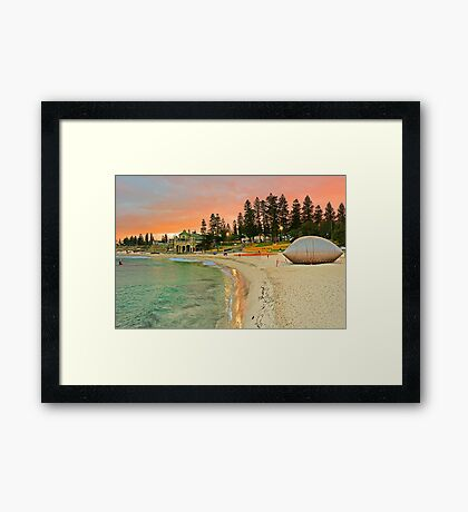 Sculptures By The Sea Sunrise  Framed Print