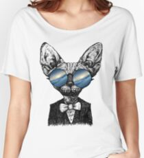 Galaxy Cat Sphynx Sunglass  Women's Relaxed Fit T-Shirt
